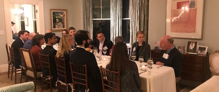 "Boston-based alumni discuss income inequality, the merits of capitalism and the social contract at Business & Society ""Jeffersonian"" Dinner Series"